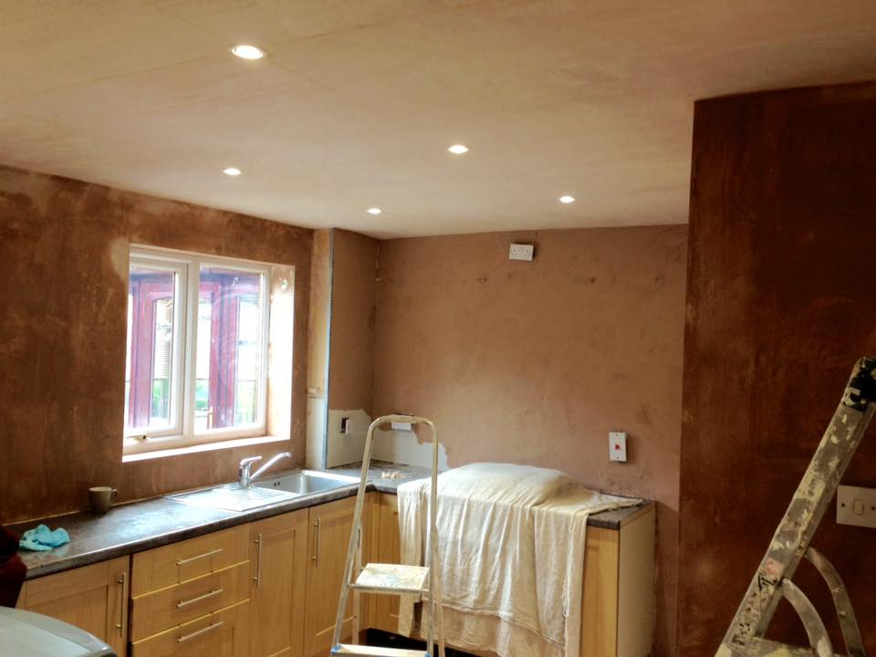 Ceiling boarded and skimmed, walls prepared and ready for a final skim of plaster