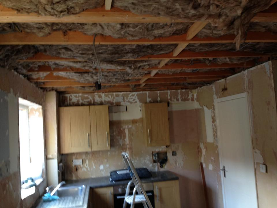Wall tiles removed and old ceiling dropped